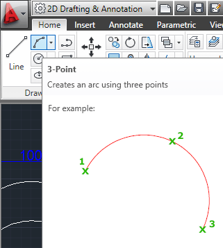in autocad arc