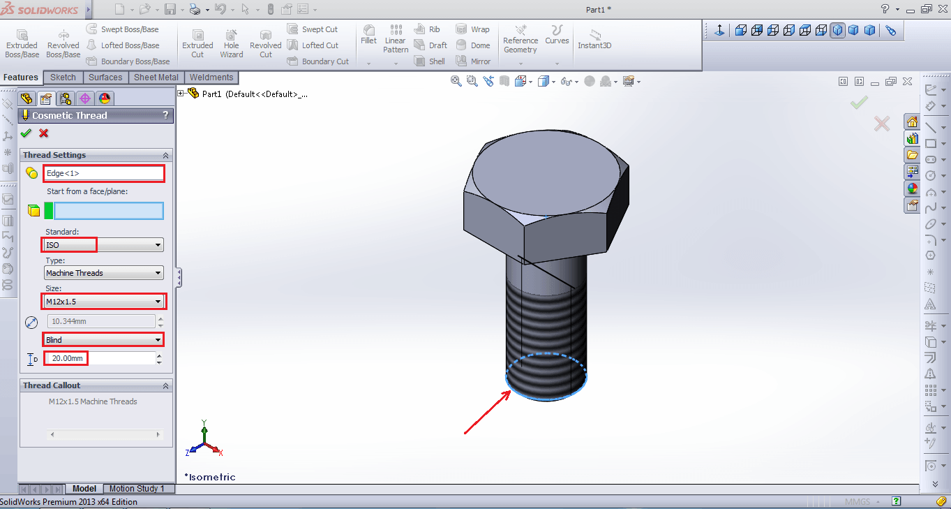 How to make threads in solidworks for Design table not working solidworks