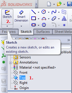 Create a brand new sketch in Solidworks