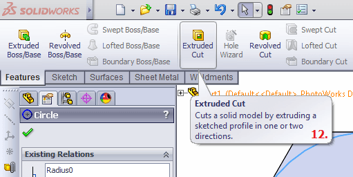 Extrude Cut command in Solidworks