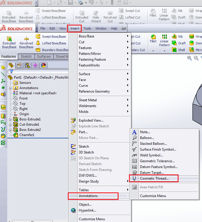 How to make Threads in Solidworks