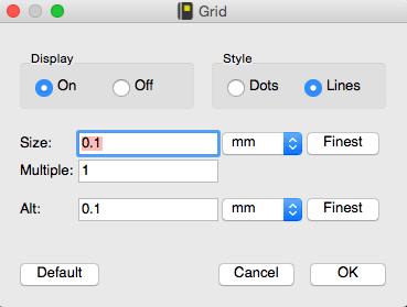 Grid menu in Eagle software