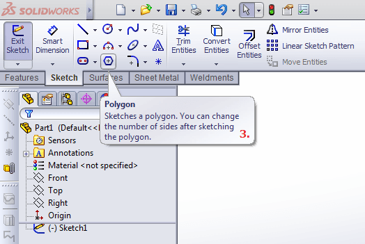 Polygon option in Solidworks