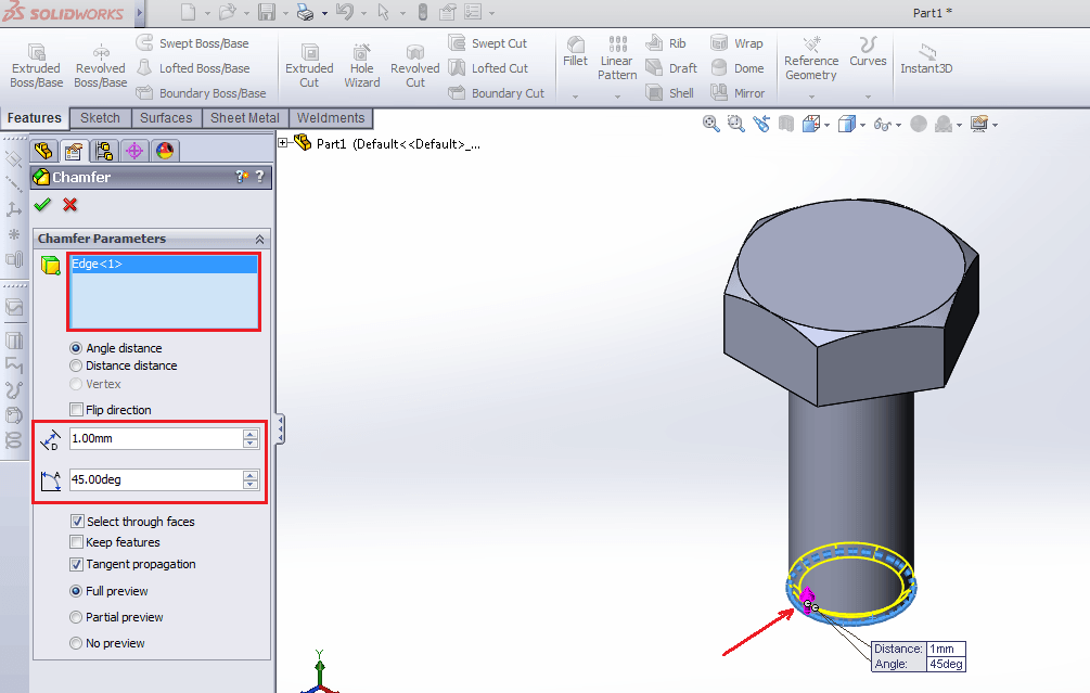 Select chamfer then click on bolt