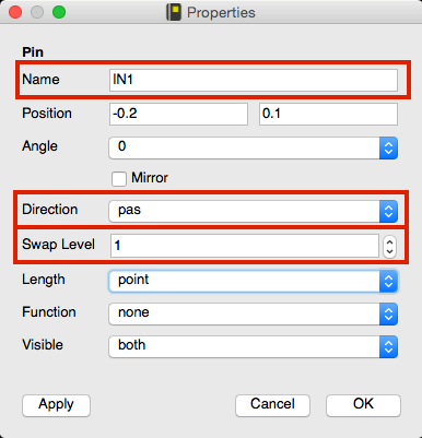 Setting up the pin properties for a symbol