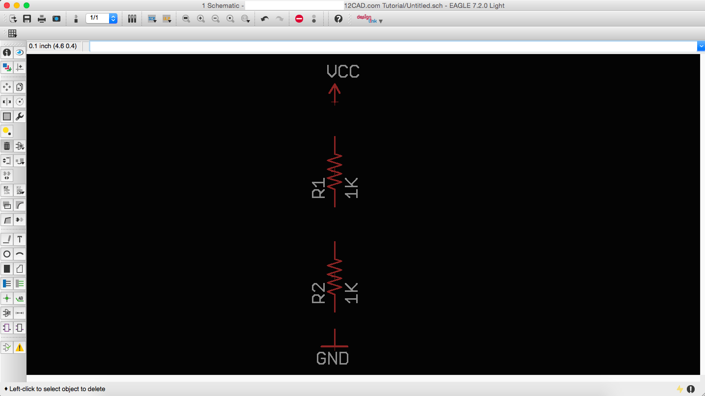 Voltage Divider in a Schematic Window in Eagle
