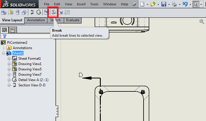 Broken views used for large parts that do not fit on solidworks screen