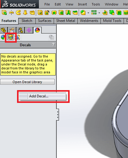 Add a decal in display manager solidworks
