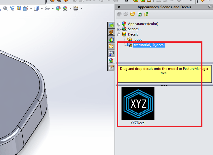 Appearances scenes and decals in solidworks