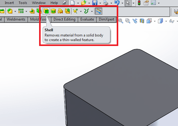 Change wall thickness for plastic part in solidworks