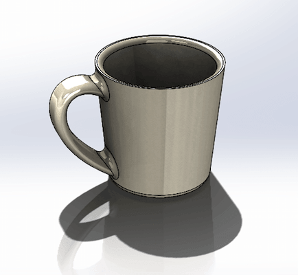Simple Coffee Cup in SolidWorks CAD Tool