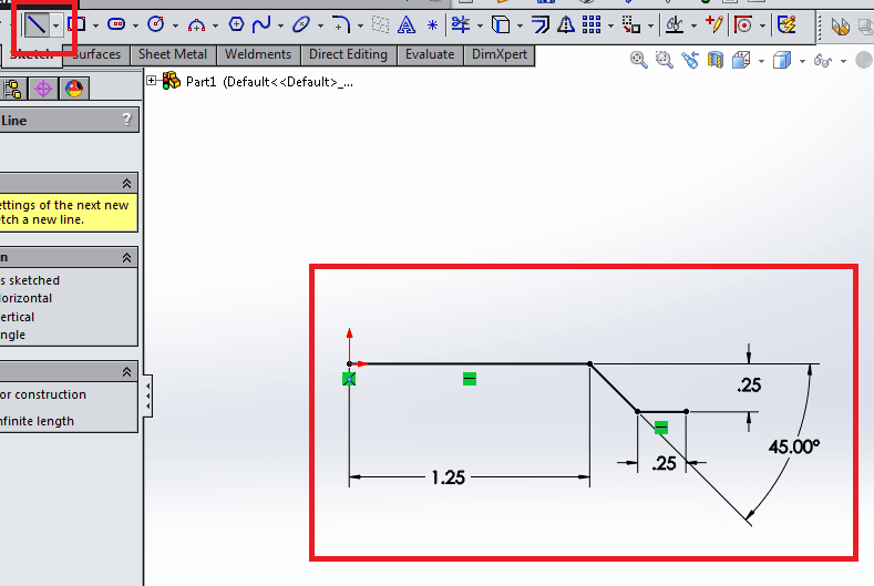 Line tool in solidworks