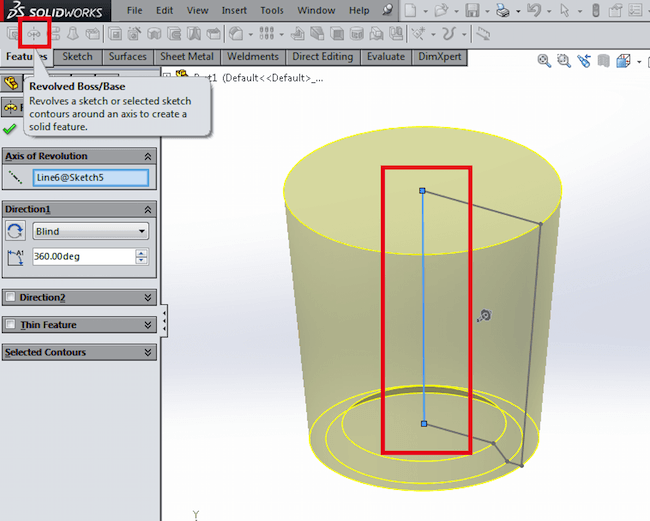 Revolved shape in CAD