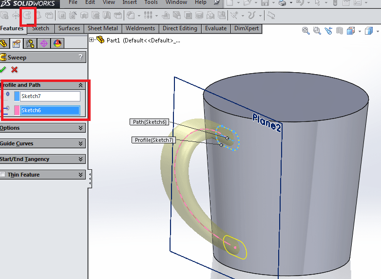 Creating the handle of a coffee cup