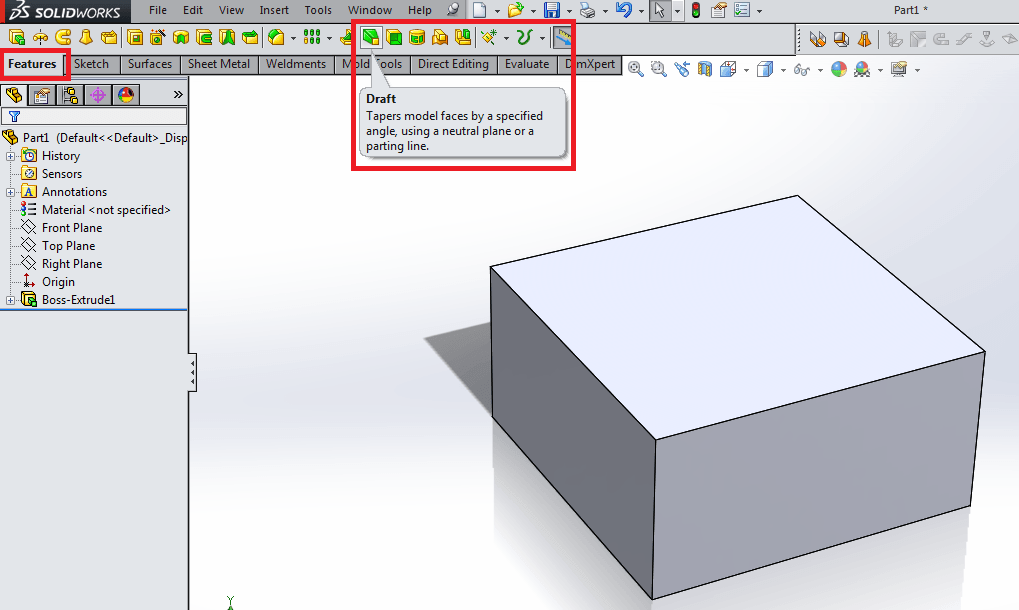 Draft for plastic part design in solidworks