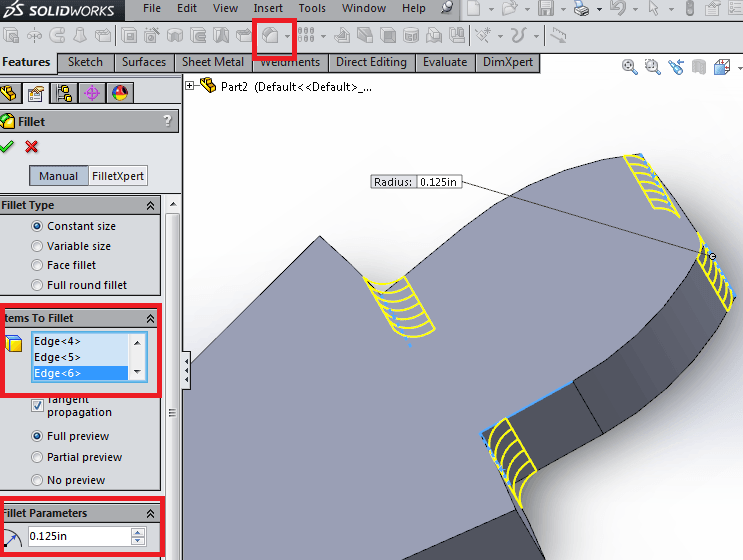 Fillet tool features