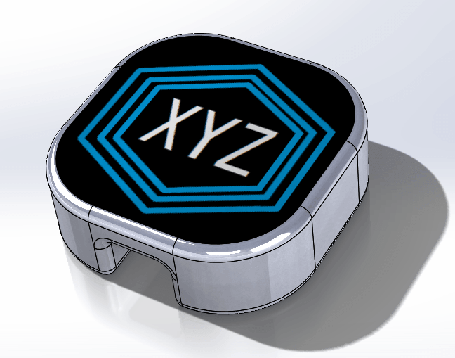 Final design with decal in solidworks