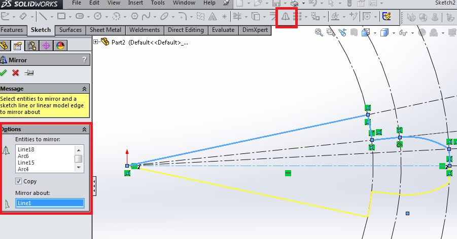 Mirror entities in Solidworks