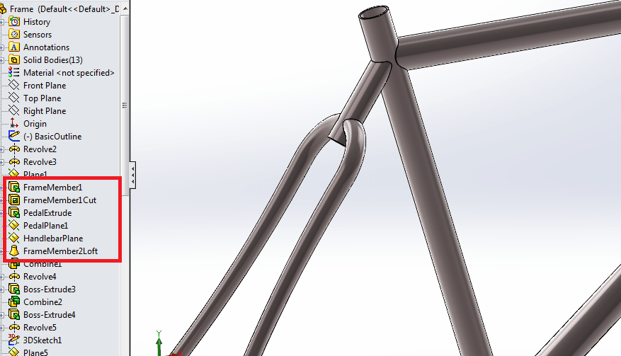 Name features in Solidworks for clarity