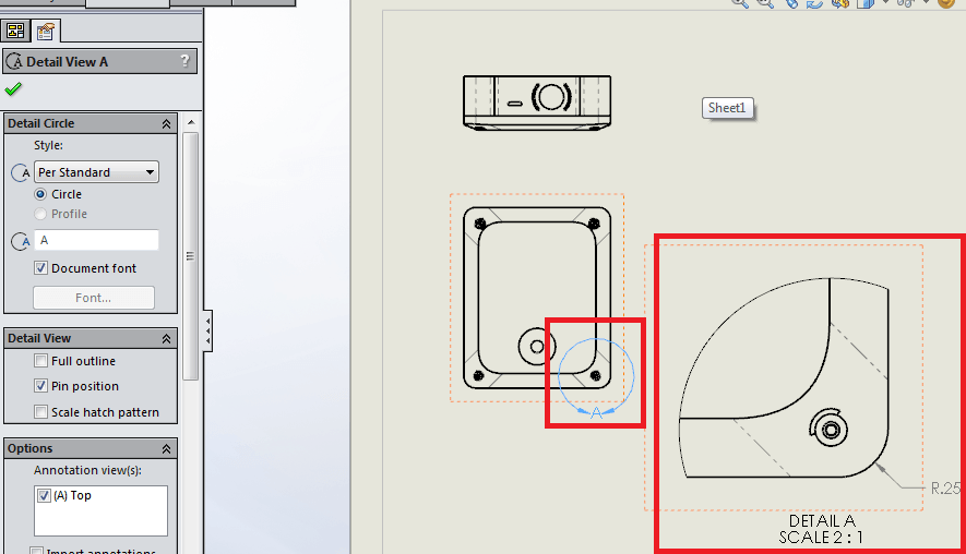 options customize detail views for solidworks 2D CAD drawing