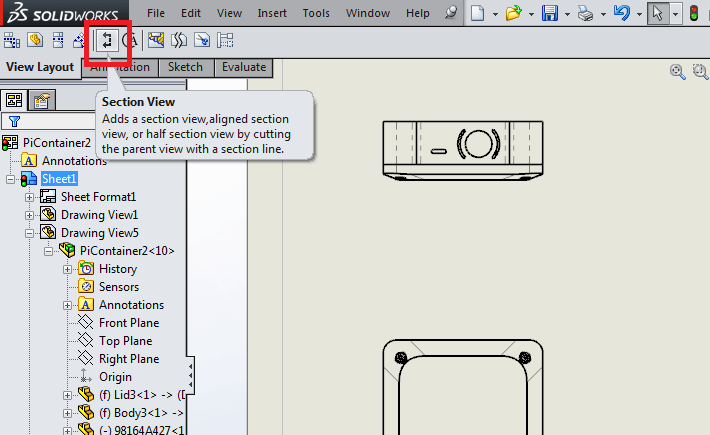 drawing views in SolidWorks