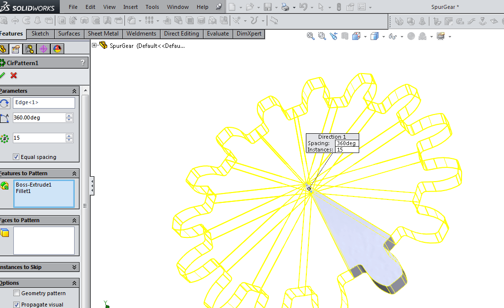 Use pattern and mirror features in Solidworks
