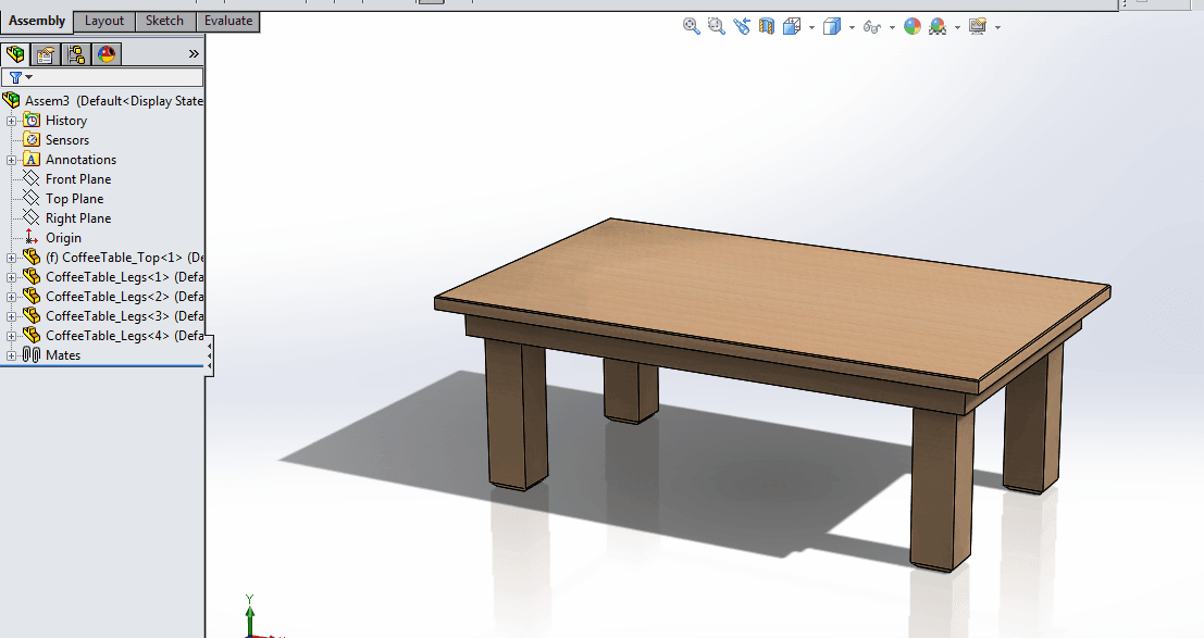 coffee table create using assemblies in solidworks