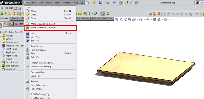 make an assembly from a part 3