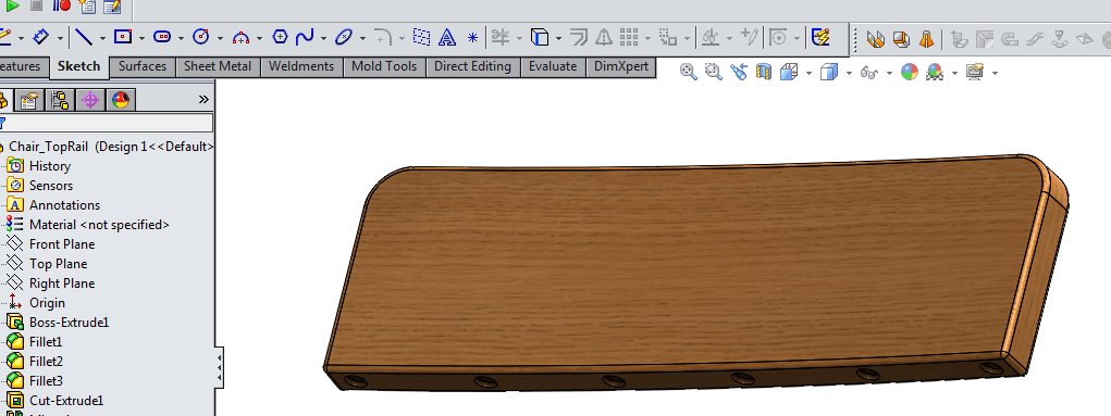 wooden top rail model in solidworks