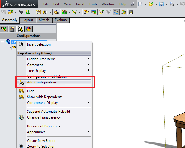 add configuration in solidworks