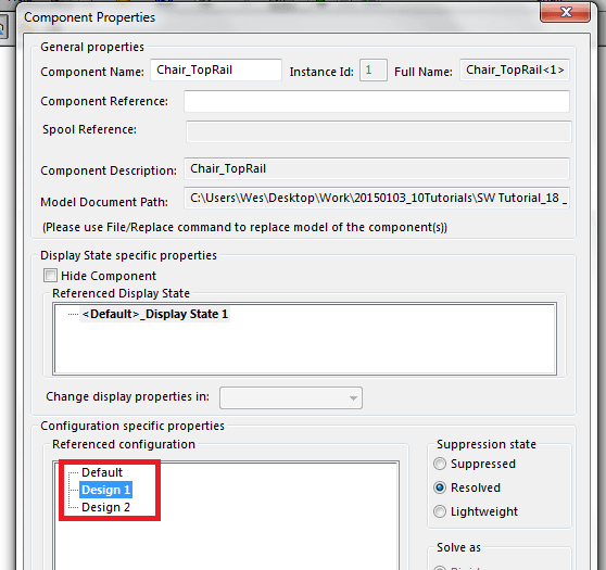 solidworks configuration specific properties