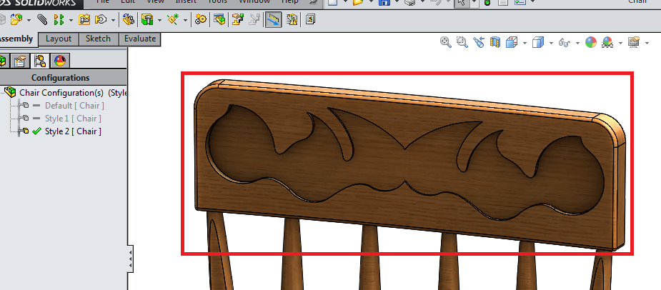 top rail appears on the chair in solidworks