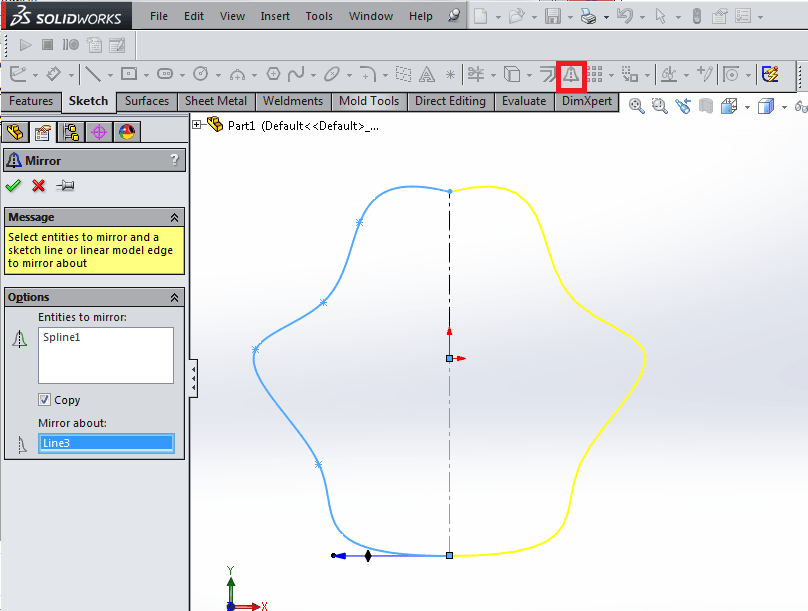 solidworks tip 2 is to mirror entities