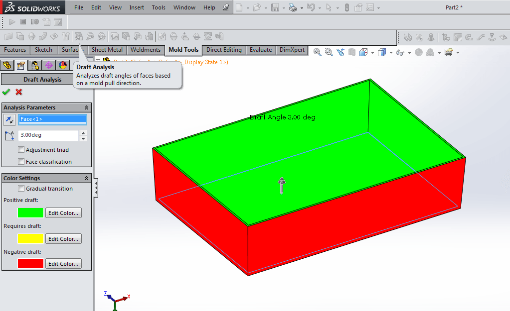 solidworks tip 4 is to use draft analysis