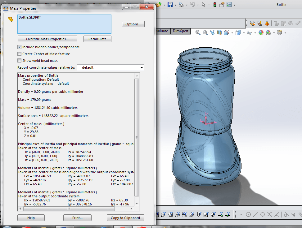 solidworks tip 5 is to check the mass of your design