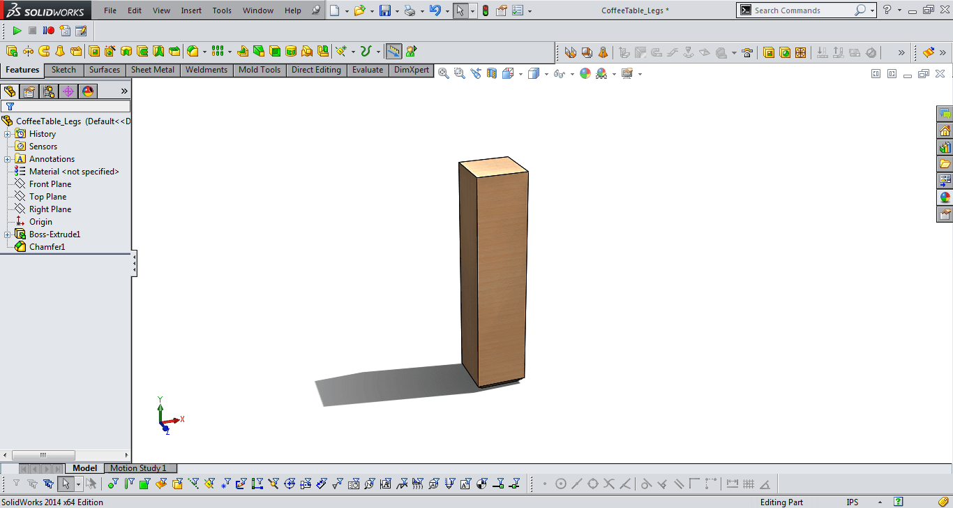 table legs solidworks model 2