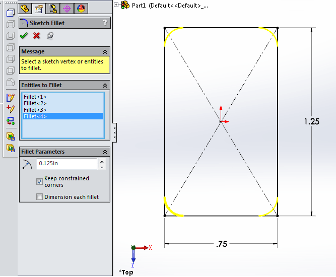 3 fillets to corners with sketch fillet tool in solidworks