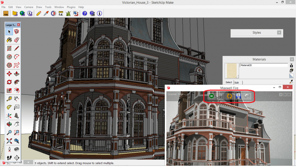 Maxwell Fire – The save/capture options highlighted within the preview window. The live preview feature cannot be presented/demonstrated in images