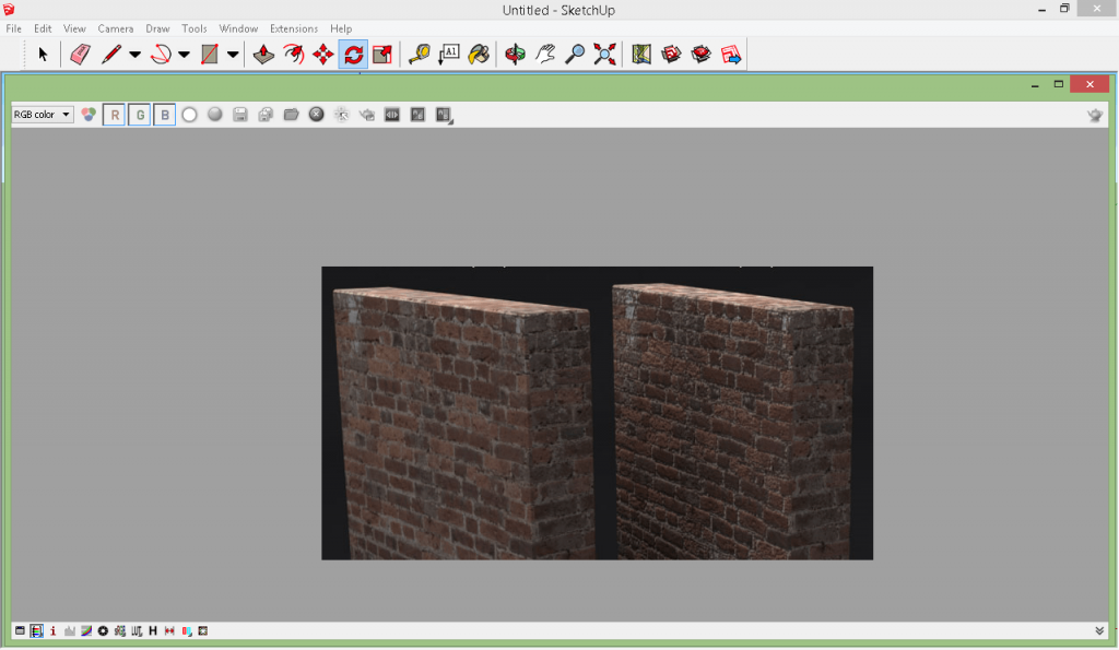 Render[in] bump mapping – The light calculations differentiates the bumps on the right side from the plain (bump-map free) render on the left hand.