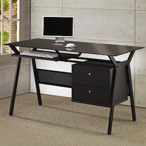 Desks Metal and Glass Computer Desk with Two Storage Drawers