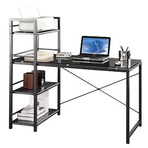Glass Top Computer Desk with Four Shelf Bookcase by Techni Mobili