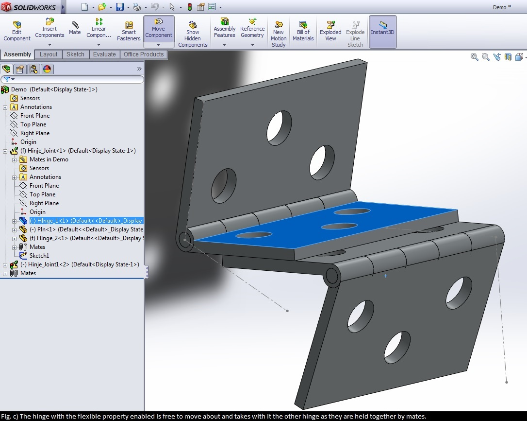 How to use rigid and flexible assemblies in solidworks 12cad fig c hinge is flexible baditri Image collections