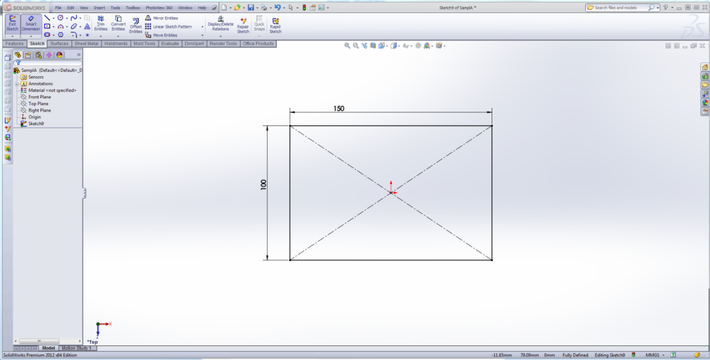 Draw a rectangle on the top plane.