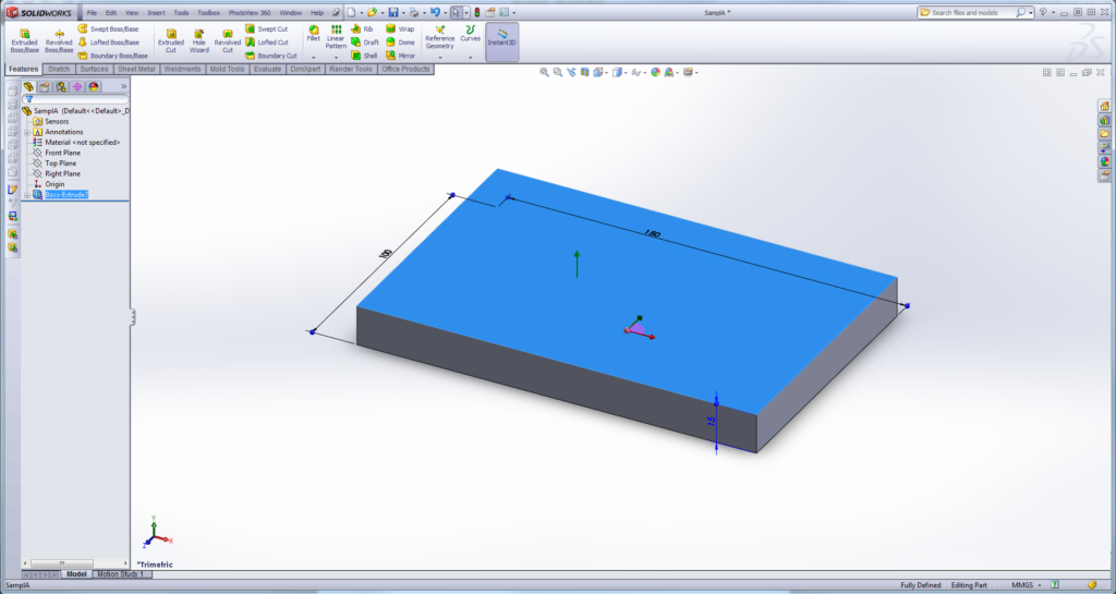 Extrude the object and create a solid block.