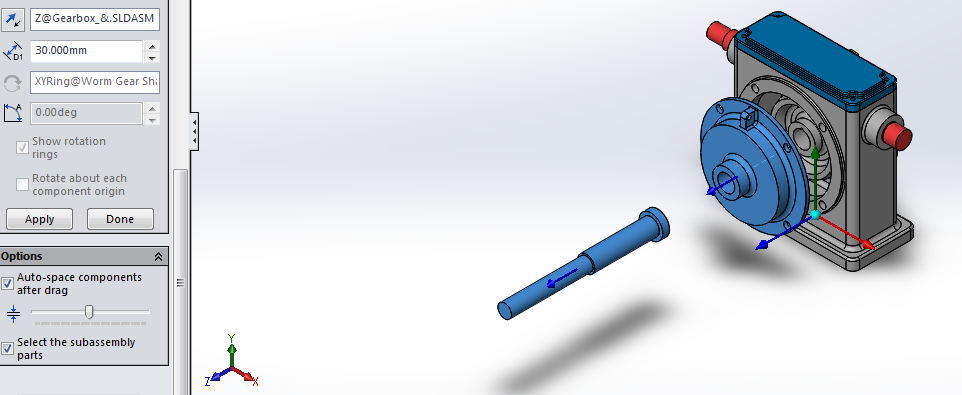 Example: Auto-space components & Select Subassembly Parts